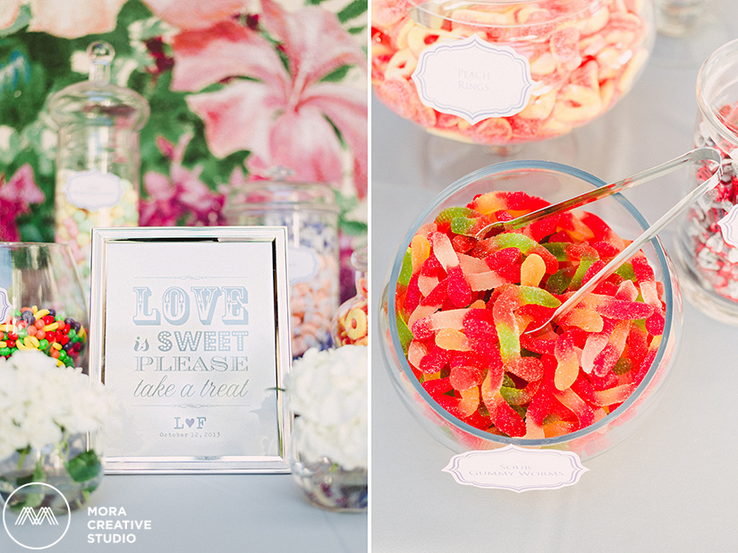Our bride and groom had a creative idea to have a table of sweet treat in this photograph at the LA River Center and Garden taken by the photographers of Mora Creative Studio