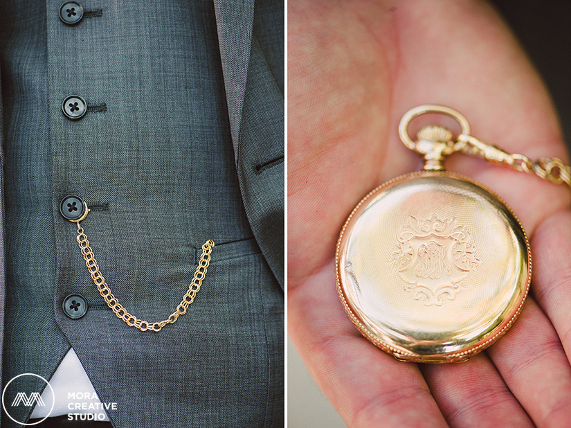 Our elegant groom is sporting a beautiful pocket watch in the photographs before his wedding ceremony taken by Mora Creative Studio