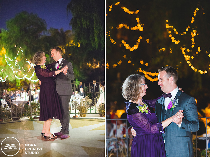 Our groom is captured smiling and dancing with his beautiful mother at the LA River Center and Garden