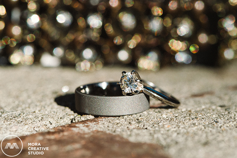 An elegant photograph of the bride and groom's beautiful wedding rings